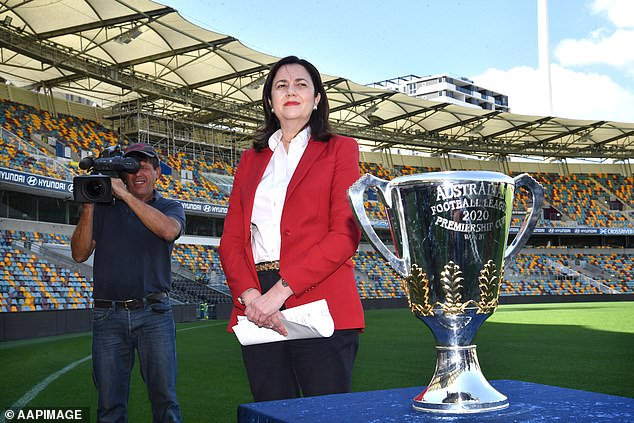 Ms Palaszczuk (pictured) sparked outrage when she allowed 400 people from the AFL community to skip mandatory quarantine and go straight to the Mecure Resort in Carrara on the Gold Coast in July