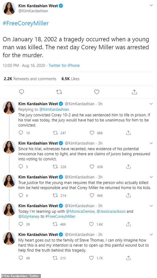 His voice lent: 'The jury convicted Corey 10-2 and sentenced him to life imprisonment.  If he had been prosecuted today, the jury would have had to agree to plead guilty, 'Kim explained in a tweet shared in August