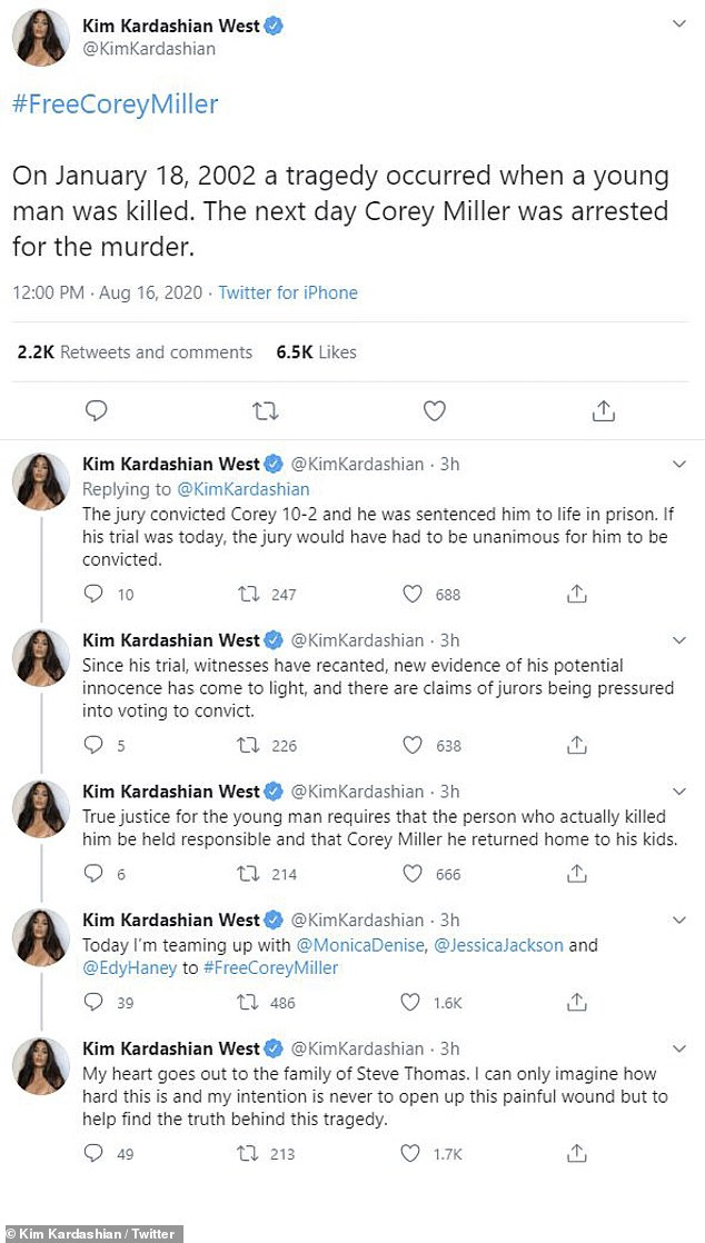 Lending her voice: 'The jury convicted Corey 10-2 and he was sentenced him to life in prison. If his trial was today, the jury would have had to be unanimous for him to be convicted,' explained Kim in a string of tweets shared in August