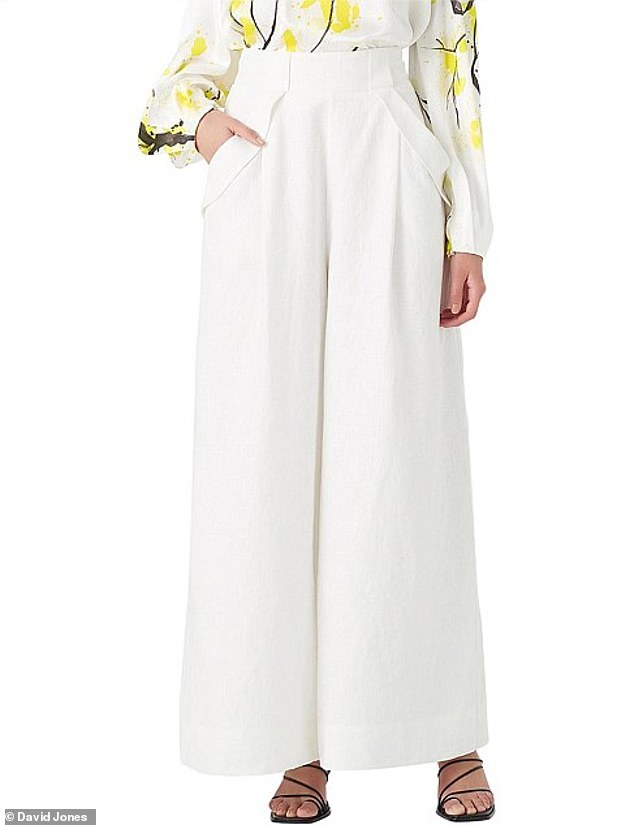 Aje's $295 palazzo pants (pictured) have the same front pockets, flared hems and thick waist band as Kmart's $25 pleated jeans