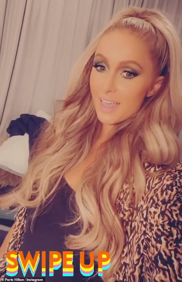 Insta update: The Stars Are Blind artist later posted a video update, sporting a black top with a cheetah-print robe, wearing her wavy blonde hair in a high ponytail