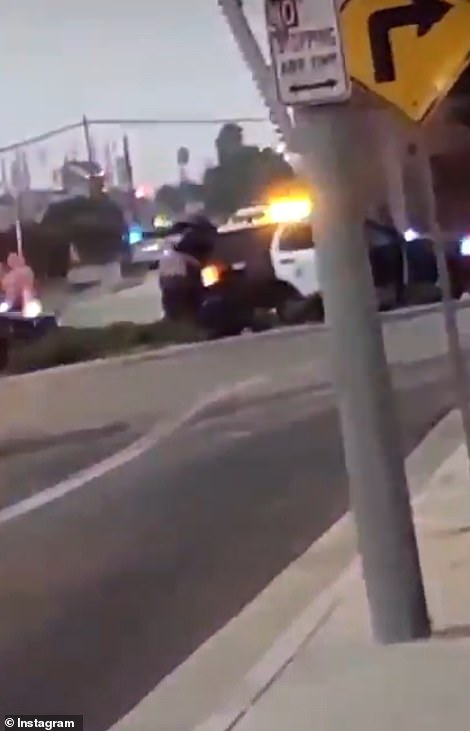 A large convoy of patrol cars raced to the scene after the wounded officers raised the alarm