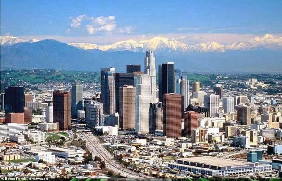 Los Angeles's business district pictured in 2001