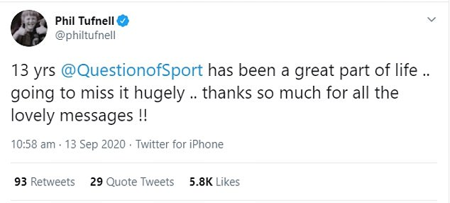 Following the announcement, Phil Tufnell tweeted that he was 'going to miss it hugely'