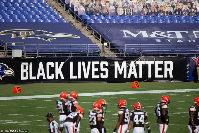 A Black Lives Matter sign is displayed at Baltimore Ravens against Cleveland Browns at M&T Bank Stadium