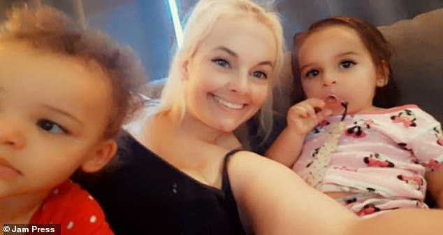 Lindsey with Maci and Mackenzi in 2020. The mother-of-three is now two-years clean and is helping others to overcome their drug addiction
