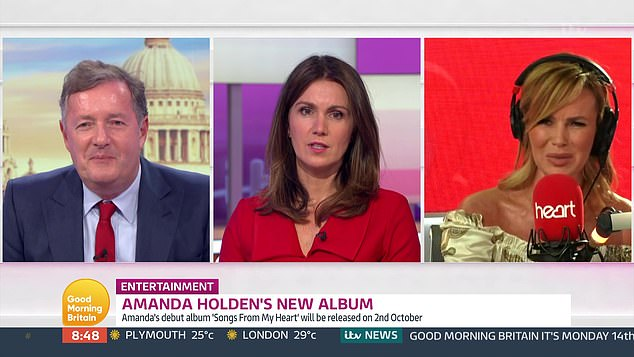 Conversation: Later in the show, Piers and Susanna spoke with BGT judge Amanda Holden about the controversy as she promoted her new album