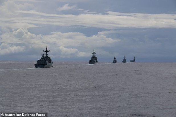 Australia sailed HMAS Stuart and Arunta with warships from the US, Japan and the Republic of Korea in the Western Pacific on Wednesday