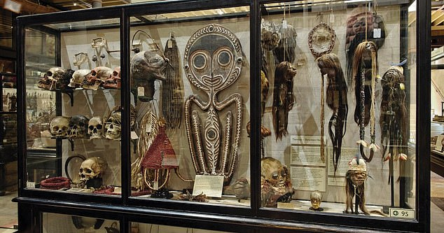 The collection of shrunken heads, or 'tsantas', on display at Oxford University's Pitt Rivers Museum, which has since been taken down, alongside 113 other human remains