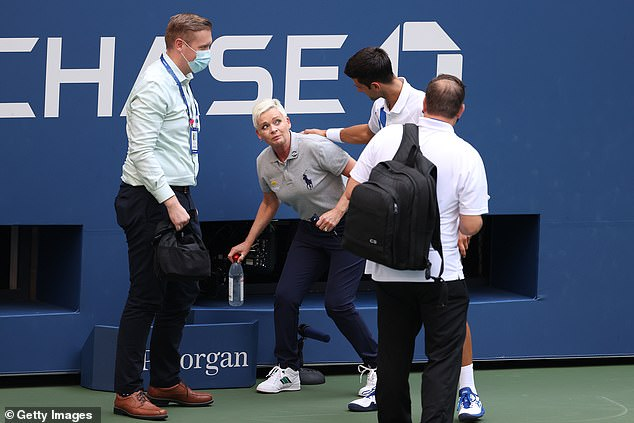 Djokovic (right) also admitted he phoned line judge Laura Clark (middle) to check she was fine