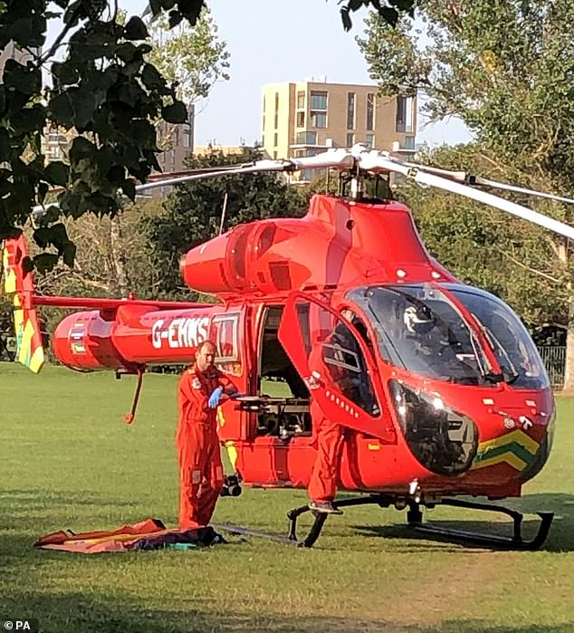 The youngster was flown to hospital by air ambulance following the crash on Monday morning