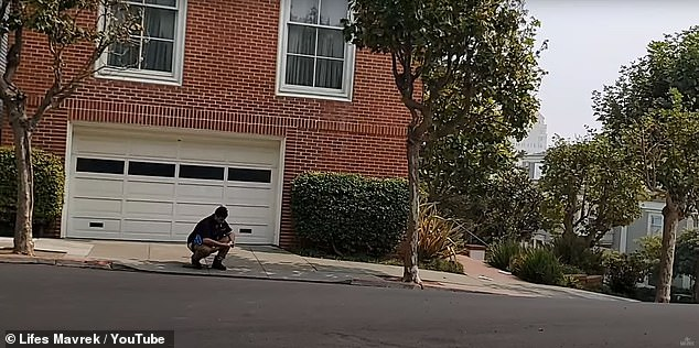 Armando (pictured) is seen squatting outside Nancy Pelosi's home on Saturday