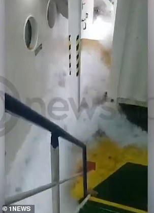 One of the two Australian men on board the ship recorded the clip (pictured)