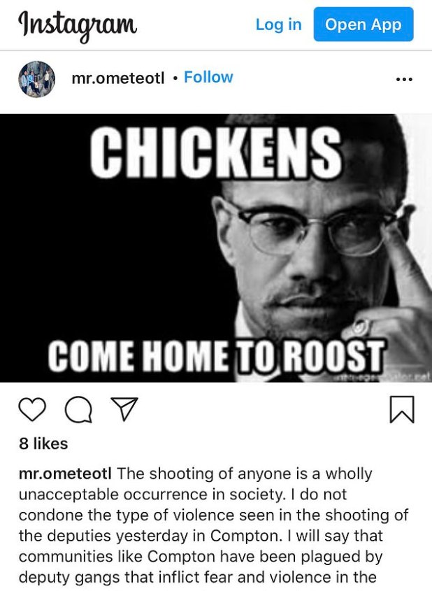 Omteol shared a meme of Malcolm X in his post, stating that 'hen will come home'