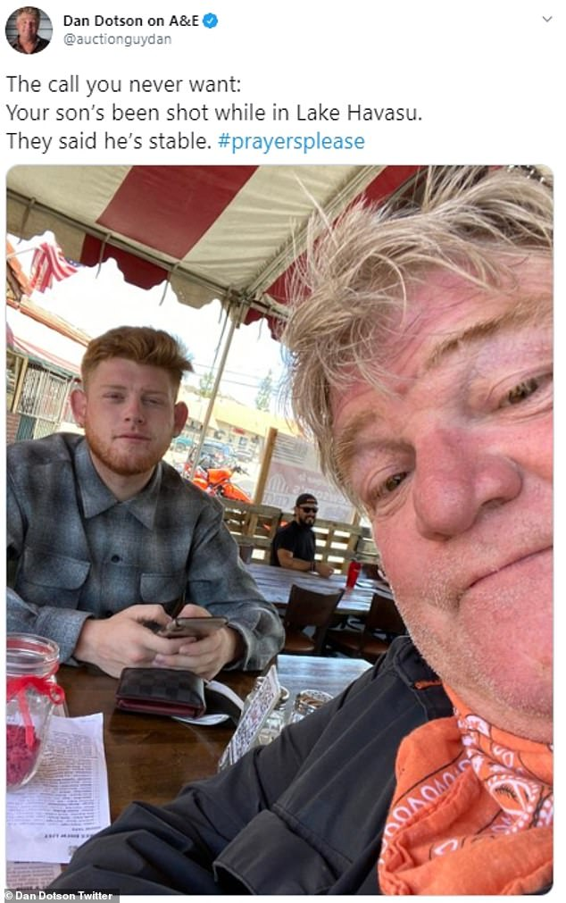 Heartbreaking:Dan Dotson, 57, revealed the tragic news that his son had been shot in a series of emotional tweets on Sunday