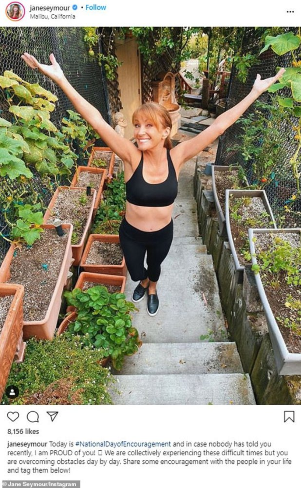 'You are overcoming obstacles day by day!'  The British Mother of Four - who does not retweet any of her photos - effortlessly postponed her 69 years in a black sports bra and matching leggings while posing on the stairs of her Malibu home garden.