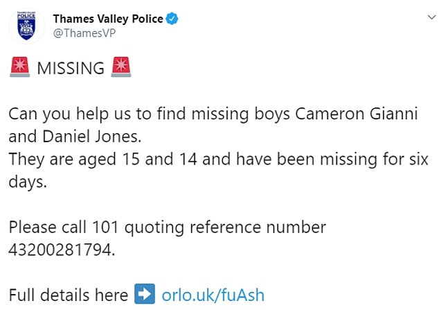 Thames Valley Police took to Twitter to appeal for information about the two missing boys