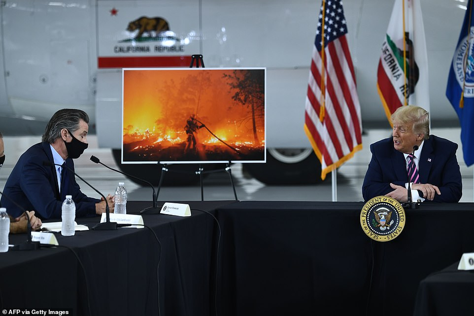 President Trump has pushed for forest management to help combat fires but Gov. Gavin Newsom told him 'climate change is real'