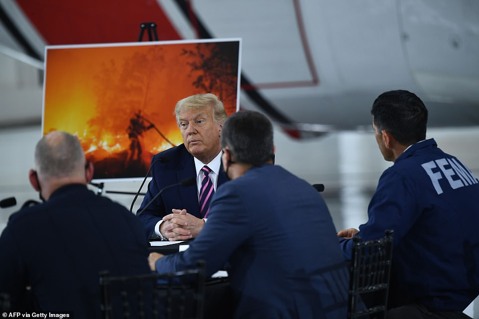 Evidence of destruction: Donald Trump sat between pictures showing the devastating effects of the wildfire