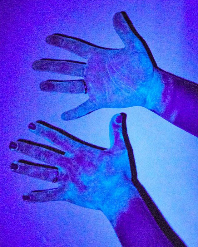 UNWASHED HANDS:Unsurprisingly, my hands are covered in 'germs' — especially on my palms and fingertips, which I will use to grip and touch things, spreading the 'virus'