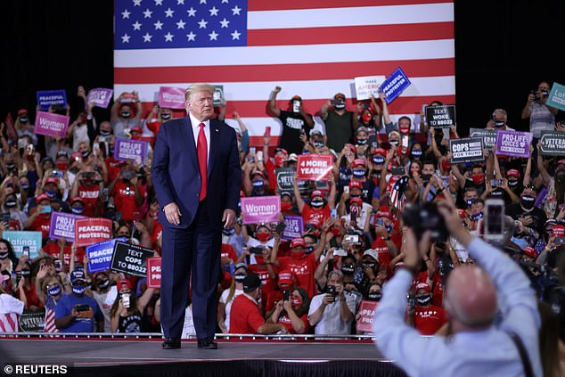 By contrast Donald Trump is rarely seen in public with a mask; on Sunday he held an indoor rally in Nevada in violation of state rules