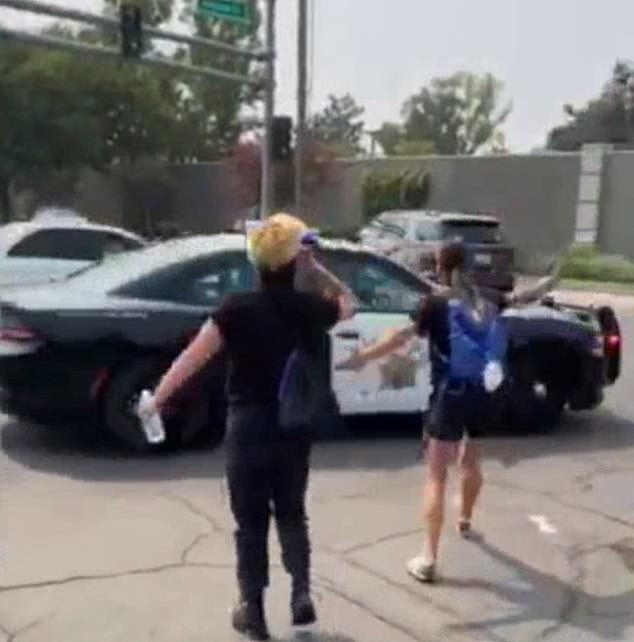 Fellow demonstrators ran after the police officer after the incident which was caught on video