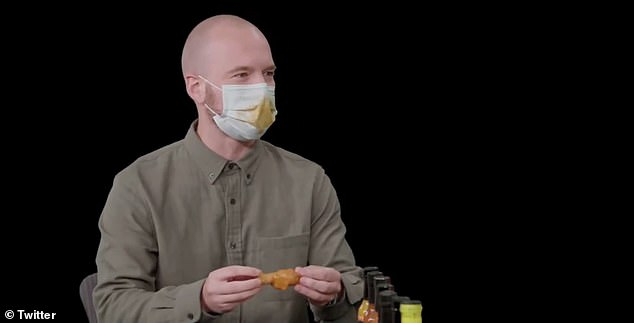 Host Sean Evans and Rudd both sported face masks smeared with hot sauce
