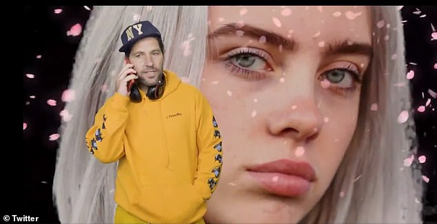 At one point Rudd pretended to call his 'bae', Billie Eilish