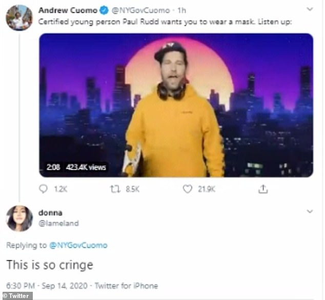 Twitter user @lameland said she found the clip 'so cringe'