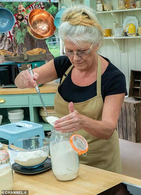 Stringent: Elsewhere, as well as the show's bubble, anything coming in and out of the Bake Off 'biosphere', including luggage and food deliveries, had to be deep-cleaned with packets of flour even cleaned several times (contestant Linda pictured)