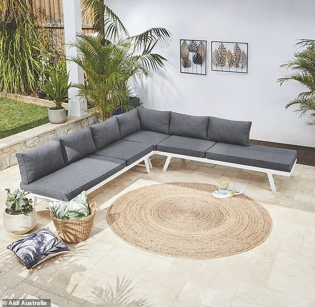 For $499, shoppers can convert the three-piece outdoor set from seating to day bed