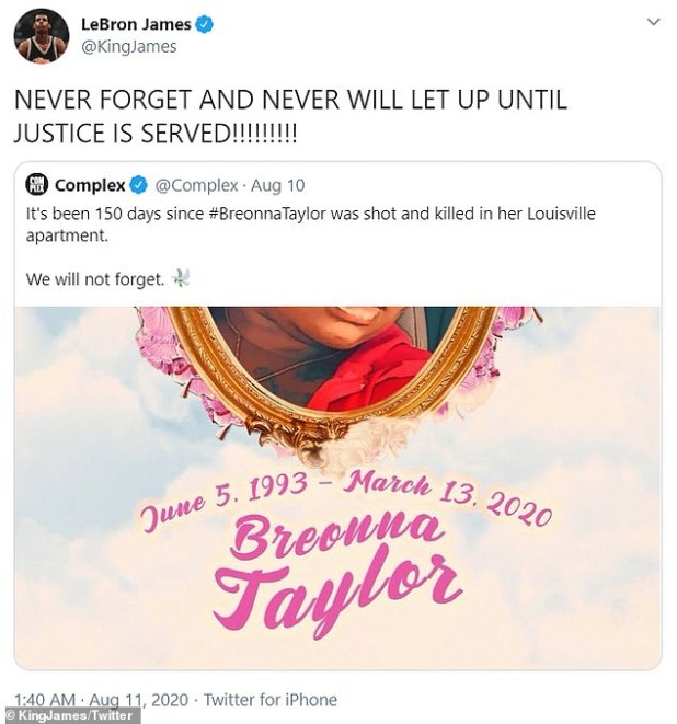 James has been one of the most vocal people seeking justice for Bryo Taylor