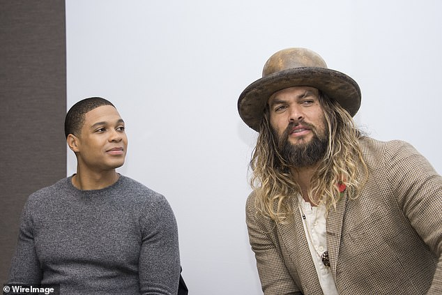 "Ray Fisher and Jason Momoa at the ""Justice League"" Press Conference at The Rosewood Hotel on November 3, 2017 in London, England"