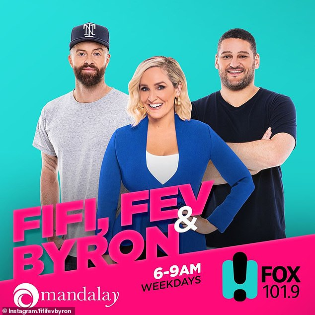 Absent: Jaimi's death was briefly alluded to on the Fifi, Fev & Byron show, with host Byron Cooke (left) saying: 'Well Fi is away today but the show must go on.' Pictured with Brendan Fevola