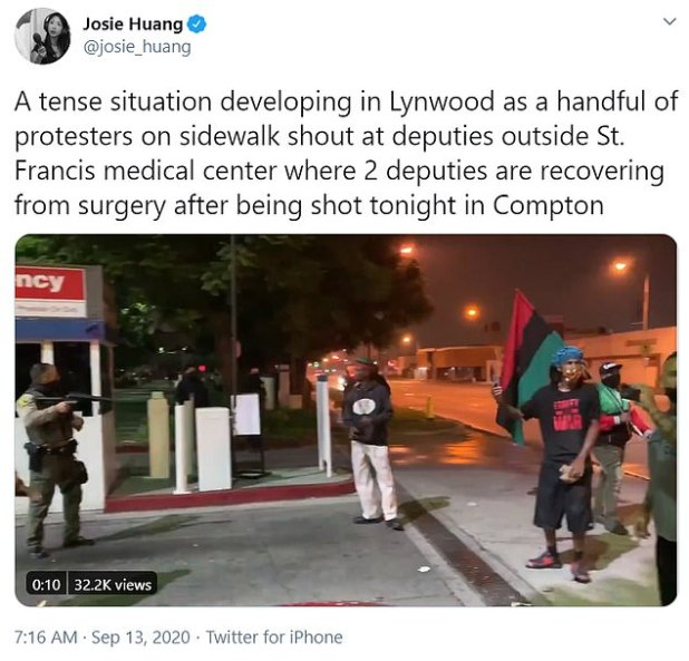 KABC-TV reported that a radio reporter was placed near the protest scene.  The Sheriff Department later tweeted that the reporter interfered with the arrest of a male guard