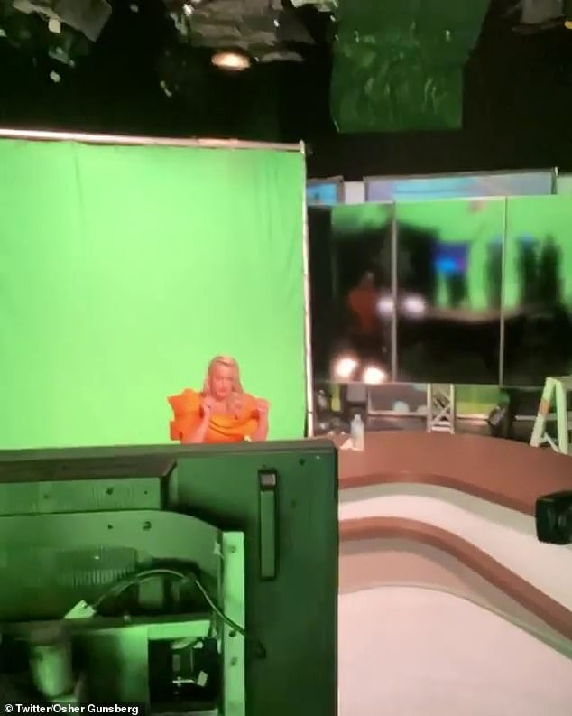 Behind the scenes secrets: Jackie O is pictured filming in front of a green screen in Sydney