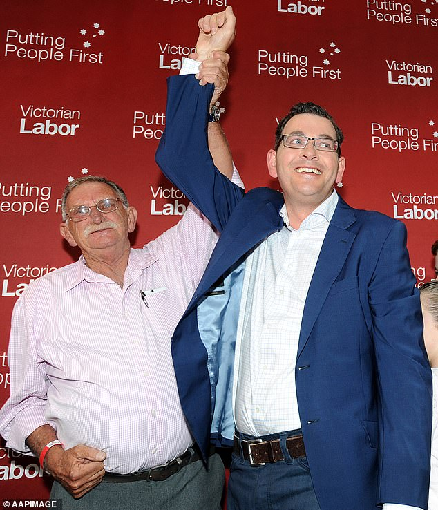 Mr Andrews celebrates with his father Bob after winning the Victorian state election in November 2014. The premier had wept openly and spoke of being his 'father's son' at the 2016 funeral