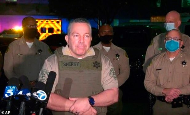 Los Angeles Sheriff Alex Villanueva raised questions about the status of two sheriff's deputies in Comton at a late night news conference