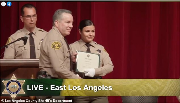 Apolinar is former librarian and mother who graduated from the Los Angeles Police Academy only last year
