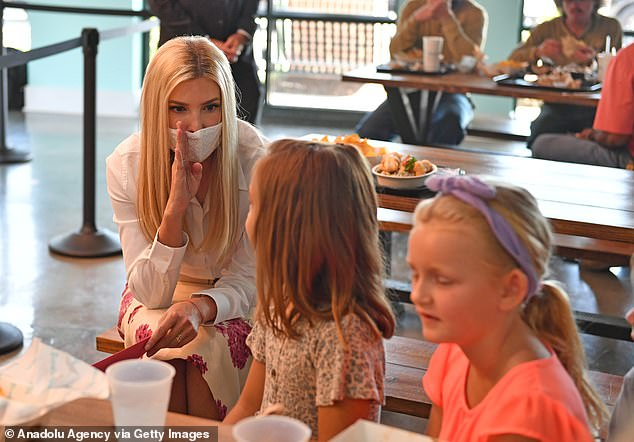 Ivanka spoke to kids who were eating in the restaurant close to where the event was being held