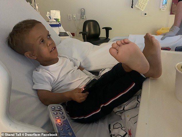 On Tuesday, Ms Bayles shared an adorable photo of Quaden with his feet up and looking relaxed as he recovers from surgery