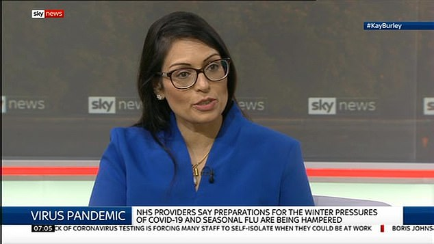 Home Secretary Priti Patel said she would report any behaviour she believed was 'inappropriate' and risked spreading the virus