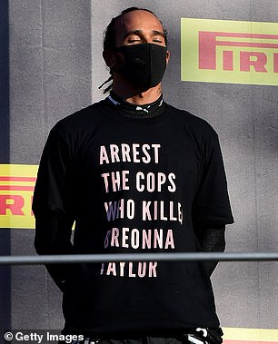Investigation: Lewis is facing an FIA investigation for wearing a 'political' T-shirt at the Tuscan Grand Prix on Sunday