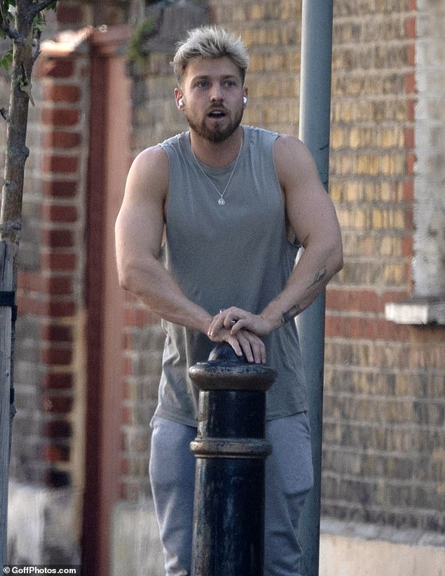 Out and about: Made In Chelsea star Sam Thompson was pictured for the first time on Tuesday following claims girlfriend Zara McDermott cheated on him at the start of their romance