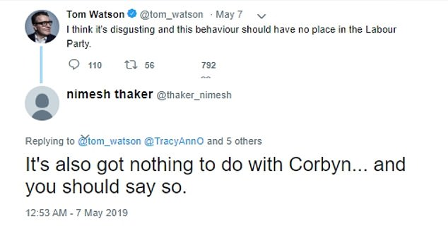 He publicly trolled anti-Semitism campaigners including actress Tracy-Ann Oberman and the editor of the Jewish Chronicle, tweeting them dozens of times, using the handle @thaker_nimesh, which has since been deleted. Mr Thaker has also shared posts by political activists dogged by allegations of anti-Semitism, such as Left-wing militant Jackie Walker, who was expelled from Labour last year for 'prejudicial' behaviour during an anti-Semitism row