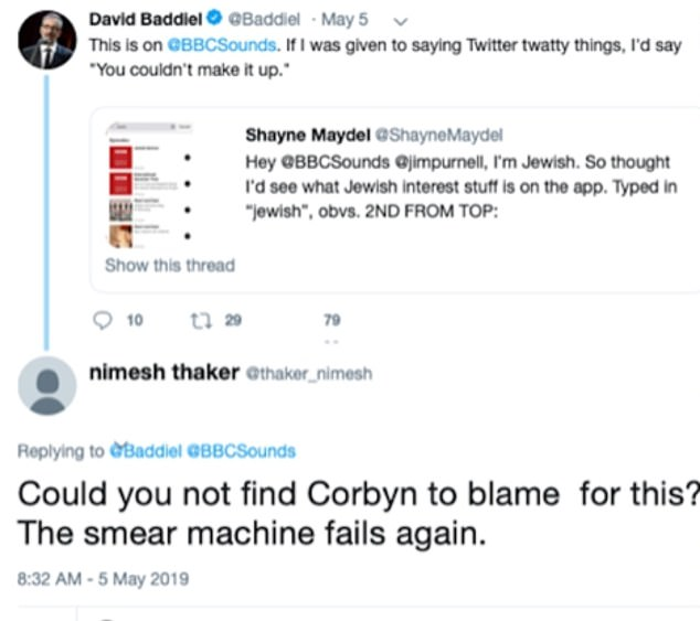 Photos shared by the Campaign Against Antisemitism group with MailOnline indicate that Mr Thaker described allegations of anti-Semitism against Mr Corbyn as 'smears'