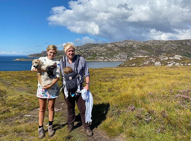 Boris and fiance Carrie had their first family holiday with Dilyn the dog and baby Wilfred up in northern Scotland during a Parliamentary recess