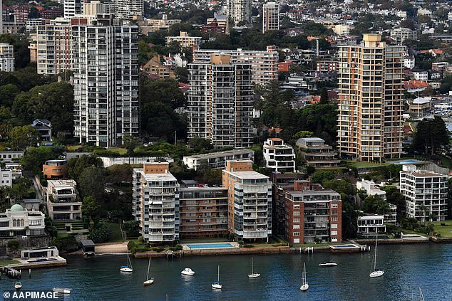 The 'social fabric' of Australian life is changing as capital city workers get the job done from home during the coronavirus pandemic. Pictured:Darling Point in Sydney