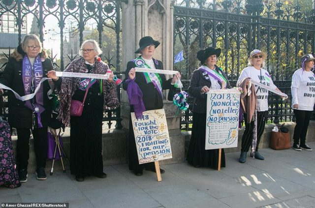 Women from (WASPI) Women Against State Pension Inequality demonstrated last November outside Parliament