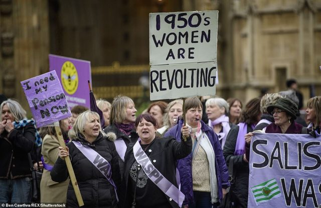 Campaign group WASPI (Women Against State Pension Inequality), outside the Houses of Parliament in 2017